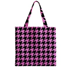 Houndstooth1 Black Marble & Pink Colored Pencil Zipper Grocery Tote Bag by trendistuff