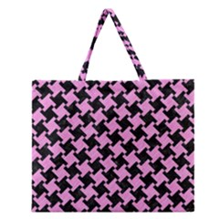 Houndstooth2 Black Marble & Pink Colored Pencil Zipper Large Tote Bag by trendistuff