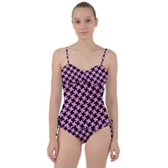 Houndstooth2 Black Marble & Pink Colored Pencil Sweetheart Tankini Set