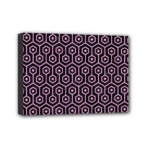 Hexagon1 Black Marble & Pink Colored Pencil (r) Mini Canvas 7  X 5  by trendistuff
