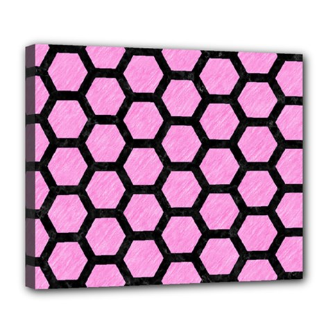 Hexagon2 Black Marble & Pink Colored Pencil Deluxe Canvas 24  X 20   by trendistuff