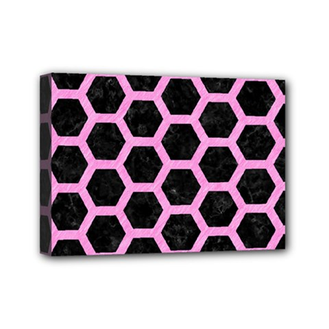 Hexagon2 Black Marble & Pink Colored Pencil (r) Mini Canvas 7  X 5