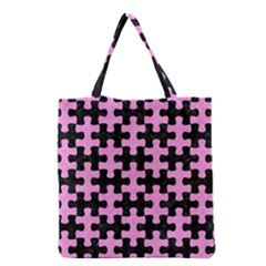 Puzzle1 Black Marble & Pink Colored Pencil Grocery Tote Bag by trendistuff