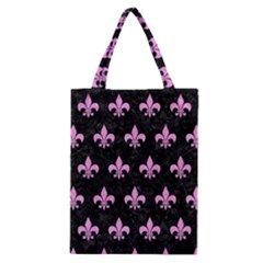 Royal1 Black Marble & Pink Colored Pencil Classic Tote Bag by trendistuff