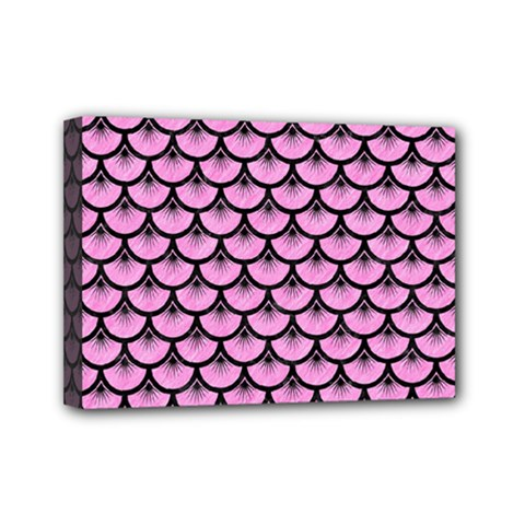 Scales3 Black Marble & Pink Colored Pencil Mini Canvas 7  X 5