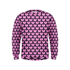 Scales3 Black Marble & Pink Colored Pencil Kids  Sweatshirt