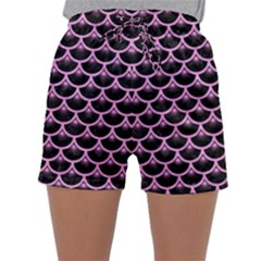 Scales3 Black Marble & Pink Colored Pencil (r) Sleepwear Shorts