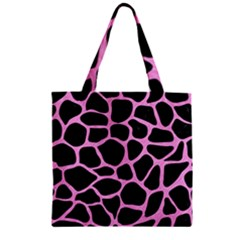 Skin1 Black Marble & Pink Colored Pencil Zipper Grocery Tote Bag by trendistuff