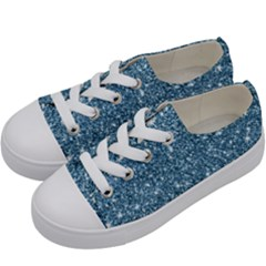 New Sparkling Glitter Print F Kids  Low Top Canvas Sneakers by MoreColorsinLife