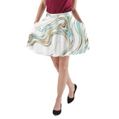 Abstract Marble 1 A Line Pocket Skirt by tarastyle