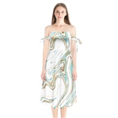 Abstract Marble 1 Shoulder Tie Bardot Midi Dress by tarastyle