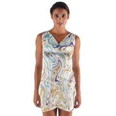 Abstract Marble 3 Wrap Front Bodycon Dress by tarastyle