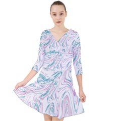 Abstract Marble 4 Quarter Sleeve Front Wrap Dress	 by tarastyle