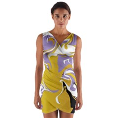 Abstract Marble 7 Wrap Front Bodycon Dress by tarastyle