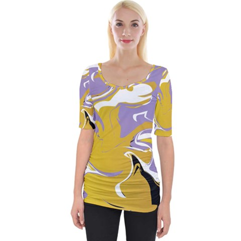 Abstract Marble 7 Wide Neckline Tee by tarastyle