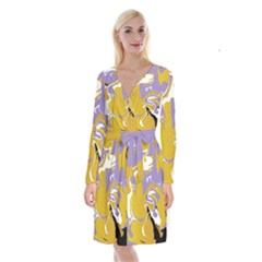 Abstract Marble 7 Long Sleeve Velvet Front Wrap Dress by tarastyle
