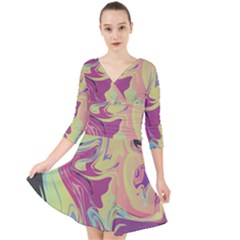 Abstract Marble 8 Quarter Sleeve Front Wrap Dress
