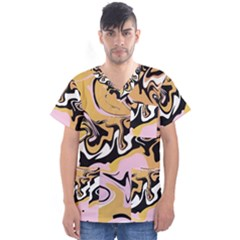 Abstract Marble 9 Men s V Neck Scrub Top