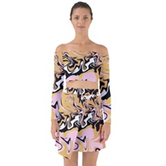 Abstract Marble 9 Off Shoulder Top With Skirt Set