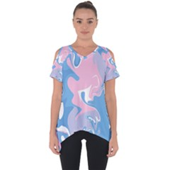 Abstract Marble 10 Cut Out Side Drop Tee