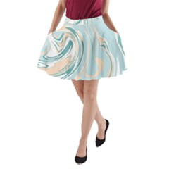 Abstract Marble 11 A Line Pocket Skirt