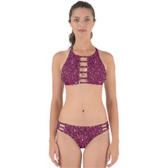 New Sparkling Glitter Print J Perfectly Cut Out Bikini Set
