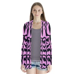 Skin2 Black Marble & Pink Colored Pencil Drape Collar Cardigan by trendistuff