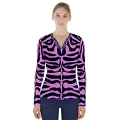Skin2 Black Marble & Pink Colored Pencil (r) V Neck Long Sleeve Top
