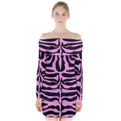 Skin2 Black Marble & Pink Colored Pencil (r) Long Sleeve Off Shoulder Dress