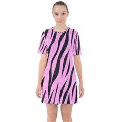 Skin3 Black Marble & Pink Colored Pencil Sixties Short Sleeve Mini Dress