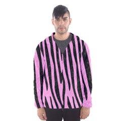 Skin4 Black Marble & Pink Colored Pencil (r) Hooded Wind Breaker (men) by trendistuff