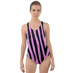 Skin4 Black Marble & Pink Colored Pencil (r) Cut Out Back One Piece Swimsuit