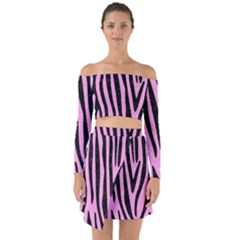 Skin4 Black Marble & Pink Colored Pencil (r) Off Shoulder Top With Skirt Set