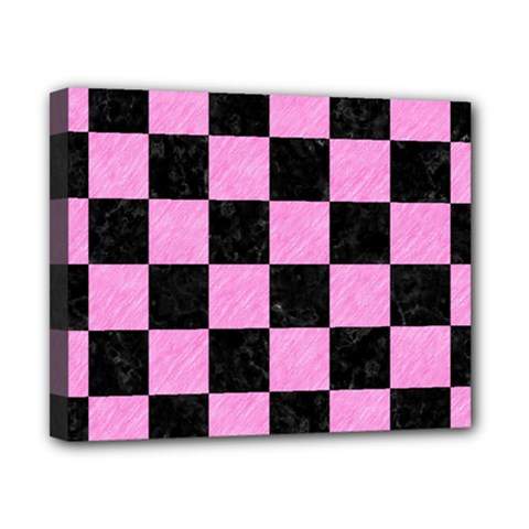 Square1 Black Marble & Pink Colored Pencil Canvas 10  X 8  by trendistuff