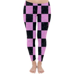 Square1 Black Marble & Pink Colored Pencil Classic Winter Leggings by trendistuff