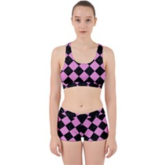 Square2 Black Marble & Pink Colored Pencil Work It Out Sports Bra Set