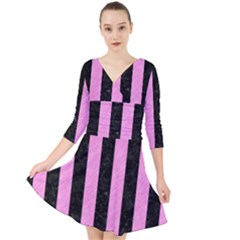 Stripes1 Black Marble & Pink Colored Pencil Quarter Sleeve Front Wrap Dress