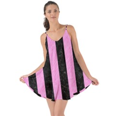 Stripes1 Black Marble & Pink Colored Pencil Love The Sun Cover Up