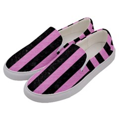 Stripes1 Black Marble & Pink Colored Pencil Men s Canvas Slip Ons by trendistuff