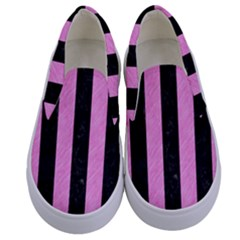 Stripes1 Black Marble & Pink Colored Pencil Kids  Canvas Slip Ons