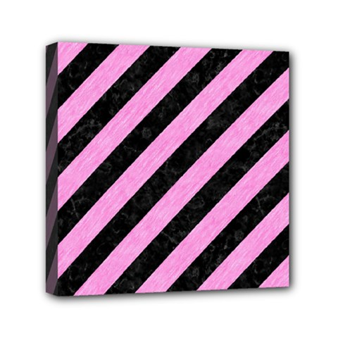 Stripes3 Black Marble & Pink Colored Pencil (r) Mini Canvas 6  X 6  by trendistuff