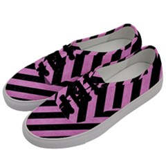 Stripes3 Black Marble & Pink Colored Pencil (r) Men s Classic Low Top Sneakers by trendistuff