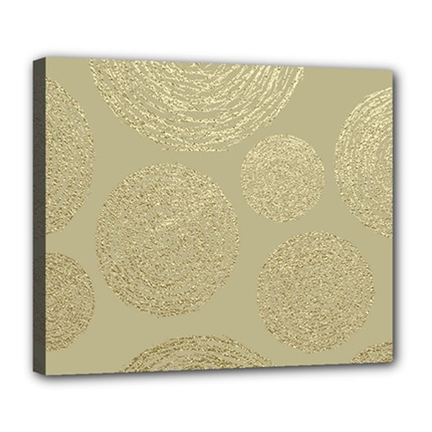 Modern, Gold,polka Dots, Metallic,elegant,chic,hand Painted, Beautiful,contemporary,deocrative,decor Deluxe Canvas 24  X 20