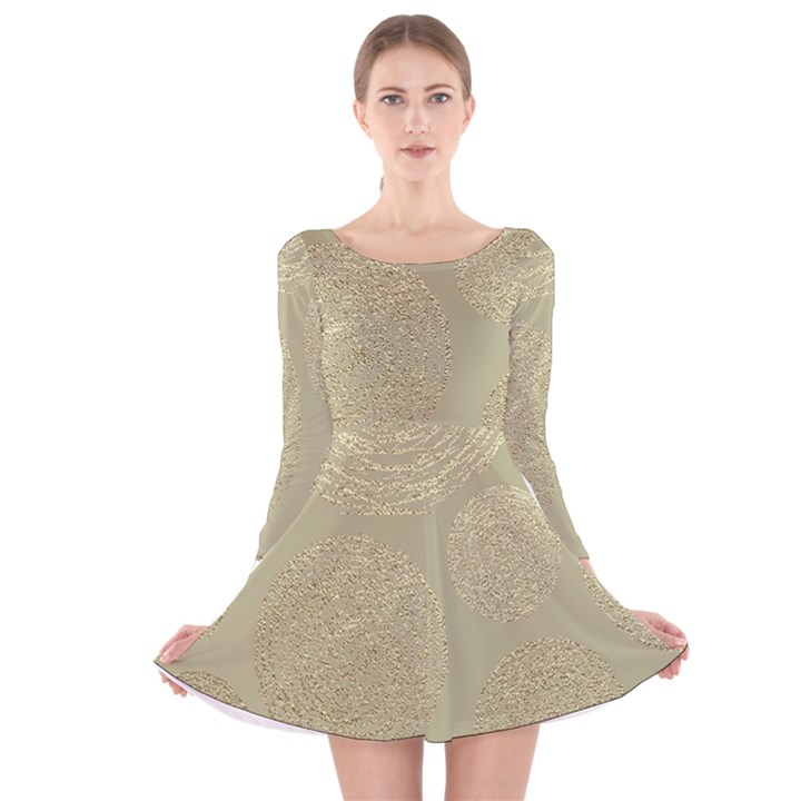 modern, gold,polka dots, metallic,elegant,chic,hand painted, beautiful,contemporary,deocrative,decor Long Sleeve Velvet Skater Dress