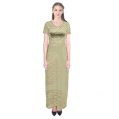 Modern, Gold,polka Dots, Metallic,elegant,chic,hand Painted, Beautiful,contemporary,deocrative,decor Short Sleeve Maxi Dress