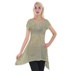 Modern, Gold,polka Dots, Metallic,elegant,chic,hand Painted, Beautiful,contemporary,deocrative,decor Short Sleeve Side Drop Tunic by 8fugoso