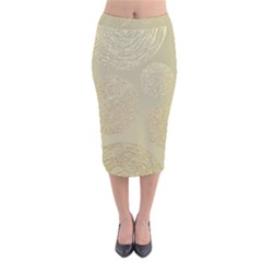Modern, Gold,polka Dots, Metallic,elegant,chic,hand Painted, Beautiful,contemporary,deocrative,decor Velvet Midi Pencil Skirt