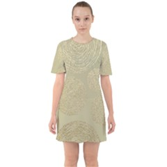Modern, Gold,polka Dots, Metallic,elegant,chic,hand Painted, Beautiful,contemporary,deocrative,decor Sixties Short Sleeve Mini Dress