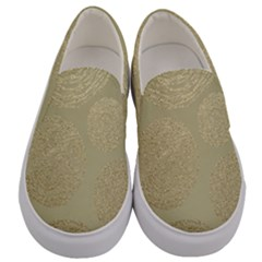 Modern, Gold,polka Dots, Metallic,elegant,chic,hand Painted, Beautiful,contemporary,deocrative,decor Men s Canvas Slip Ons