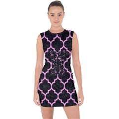 Tile1 Black Marble & Pink Colored Pencil (r) Lace Up Front Bodycon Dress